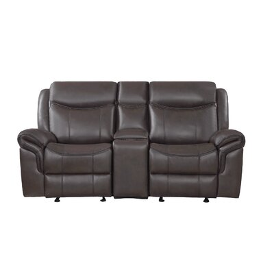 Raffaela Glider Motion Loveseat Upholstery: Brown