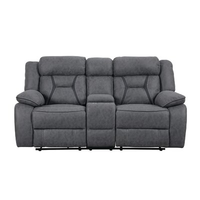 Tien Reclining Motion Loveseat with Console Upholstery: Gray