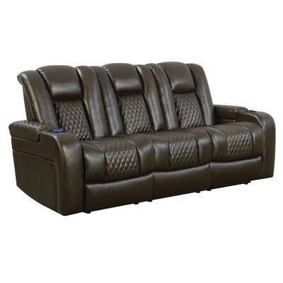 Bela Reclining Power Motion Sofa Upholstery: Brown