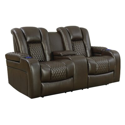 Moritz Reclining Power Motion Loveseat Upholstery: Brown