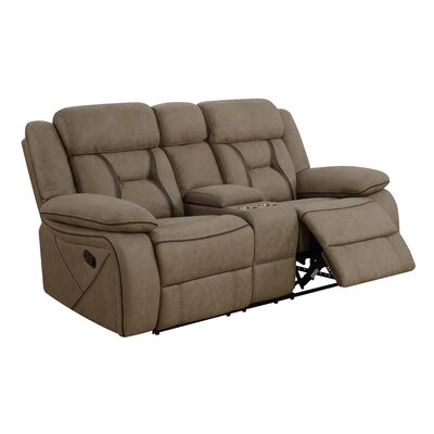 Tien Reclining Motion Loveseat with Console Upholstery: Tan