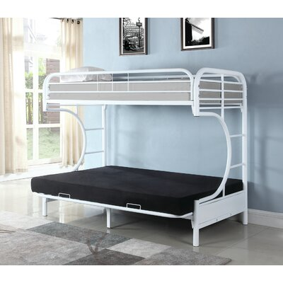 Garey Twin Futon Bunk Bed Bed Frame Color: White