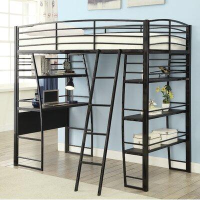 Garden Workstation Twin Loft Bed Bed Frame Color: Black