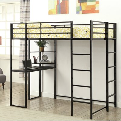 Gardiner Workstation Twin Loft Bed Bed Frame Color: Black