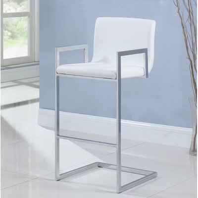 Lach Bar Stool Upholstery: White