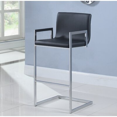 Lach Bar Stool Upholstery: Black