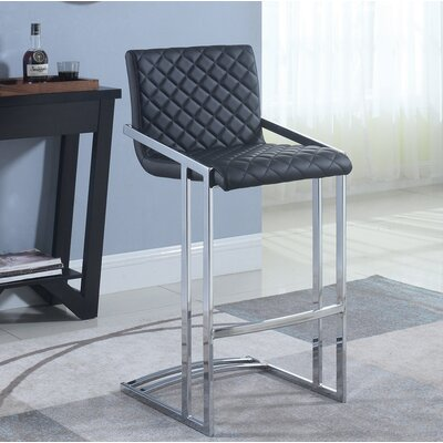 Lachance Bar Stool Upholstery: Black