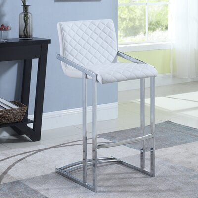Lachance Bar Stool Upholstery: White