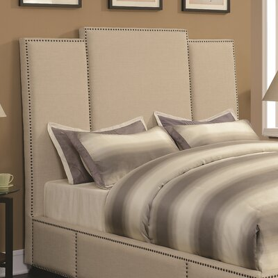 Belair Upholstered Beige Panel Headboard Size: Full
