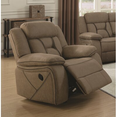 Vincenzo Glider Recliner Upholstery: Tan
