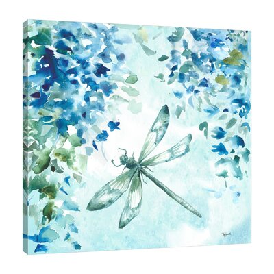 'Wisteria and Dragonfly II' Graphic Art Print on Wrapped Canvas Size: 12