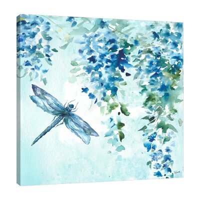 'Wisteria and Dragonfly' Print on Wrapped Canvas Size: 12