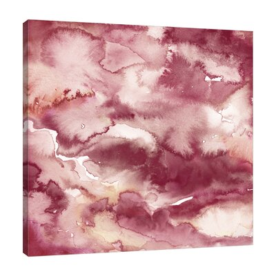'Burgundy Abstract' Watercolor Painting Print on Wrapped Canvas Size: 12