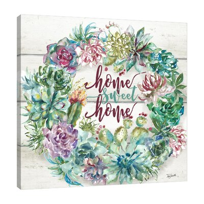 'Succulemt Wreath: Home Sweet Home' Print on Wrapped Canvas Size: 12