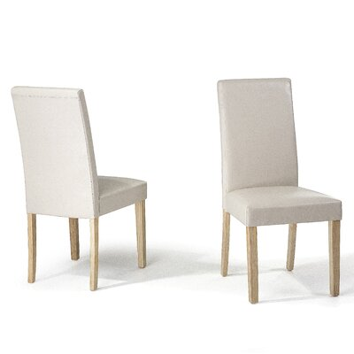 Grantville Upholstered Dining Chair Upholstery Colour: Beige Leather