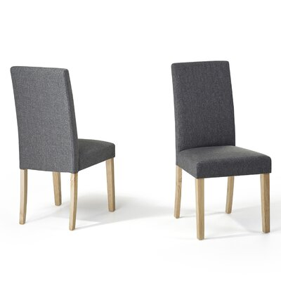 Grantville Upholstered Dining Chair Upholstery Colour: Grey Leather