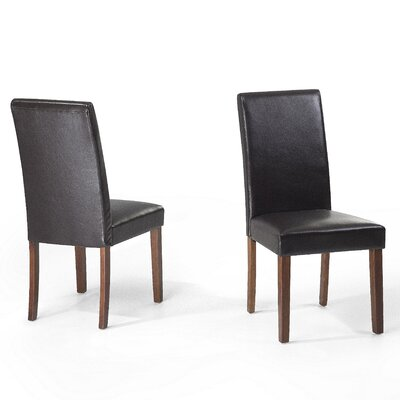 Grantville Upholstered Dining Chair Upholstery Colour: Brown Leather