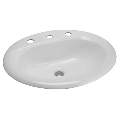 Cast Iron Drop-In Ceramic Oval Drop-In Bathroom Sink with Overflow Faucet Mount: Single Hole