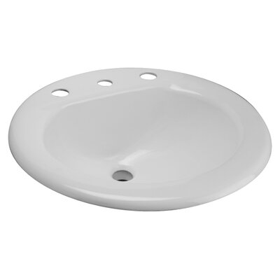 Metal Oval Drop-In Bathroom Sink with Overflow Faucet Mount: 8 Centers