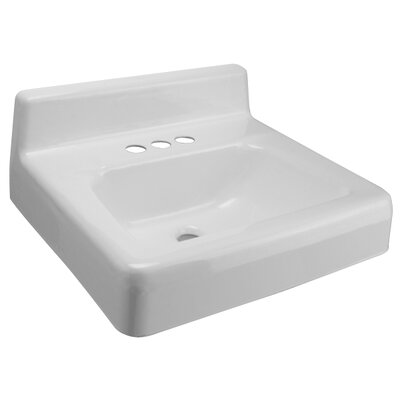 Ceramic 20 Wall Mount Bathroom Sink with Overflow Faucet Mount: Single Hole