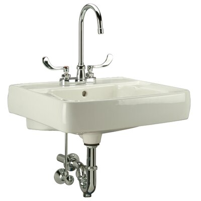 Ceramic 20 Wall Mount Bathroom Sink with Overflow Faucet Mount: 4 Centers