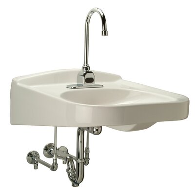 Ceramic 21 Wall Mount Bathroom Sink with Overflow Faucet Mount: 4 Centers