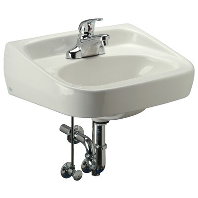 Standard Arm 22 Wall Mount Bathroom Sink with Overflow Faucet Mount: 8 Centers