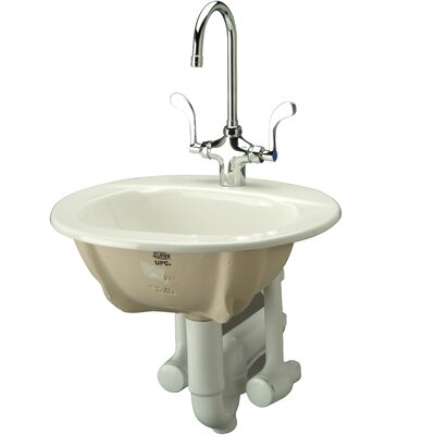 Countertop Ceramic Oval Drop-In Bathroom Sink with Overflow Faucet Mount: 4