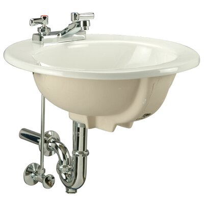 Countertop Ceramic Circular Drop-In Bathroom Sink with Overflow Faucet Mount: Single Hole
