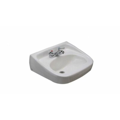 Standard Arm 22 Wall Mount Bathroom Sink with Overflow Faucet Mount: 4 Centers