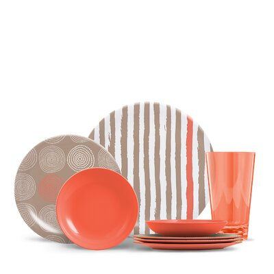 Ingrassia 16 Piece Melamine Dinnerware Set, Service for 4 Color: Canyon Coral