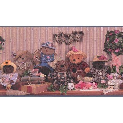 arienne Dressed Plush Dolls Teddy Bear Tea Cups Flower Bouquet Extra Wide Wall Border ZMIE7246 45301456