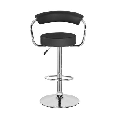 Levick Adjustable Height Swivel Bar Stool Color: Jet Black