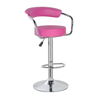 Levick Adjustable Height Swivel Bar Stool Color: Coral Magenta