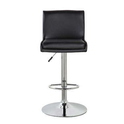 Lia Adjustable Height Swivel Bar Stool Color: Jet Black