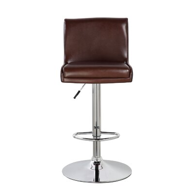 Lia Adjustable Height Swivel Bar Stool Color: Mocha Brown/Jet Black