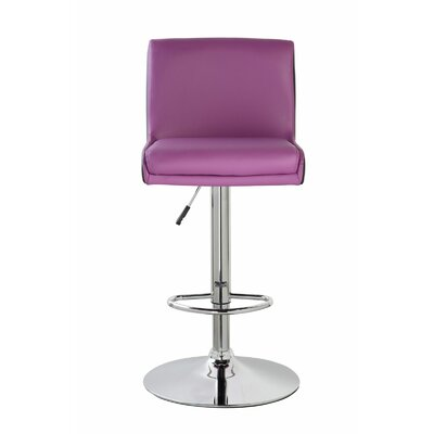 Lia Adjustable Height Swivel Bar Stool Color: Orchid Purple/Jet Black