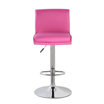 Lia Adjustable Height Swivel Bar Stool Color: Coral Magenta/Frost White