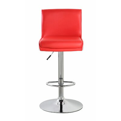 Lia Adjustable Height Swivel Bar Stool Color: Crimson Red/Frost White