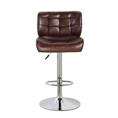 Lincolnwood Classic Adjustable Height Swivel Bar Stool Color: Mocha Brown/Jet Black
