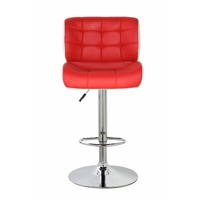 Lincolnwood Classic Adjustable Height Swivel Bar Stool Color: Crimson Red/Frost White