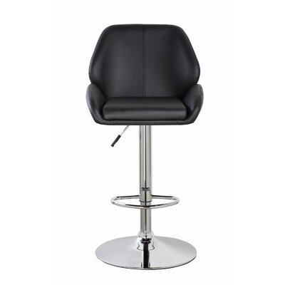 Lindbergh Classic Adjustable Height Swivel Bar Stool Color: Jet Black