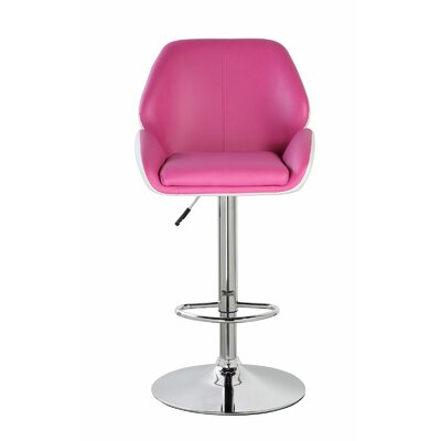 Lindbergh Classic Adjustable Height Swivel Bar Stool Color: Coral Magenta/Frost White
