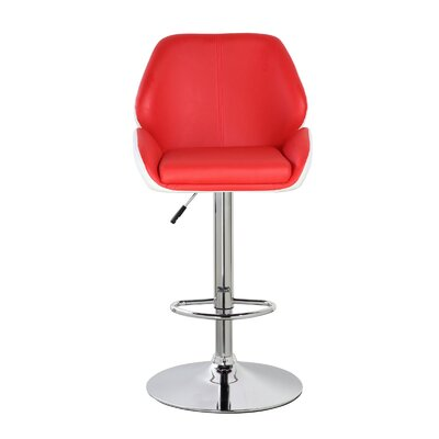 Lindbergh Classic Adjustable Height Swivel Bar Stool Color: Crimson Red/Frost White