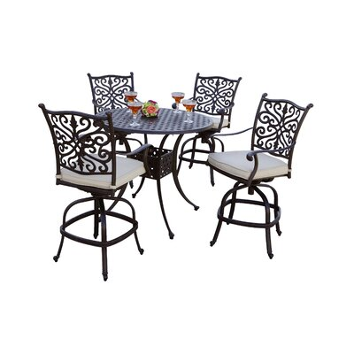 Archway 5 Piece Pub Table Set with Cushions