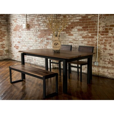 Gode 4 Piece Dining Set Color: Brown/Black, Chair Size: 30 H x 19 W x 21 D, Bench Size: 17 H x 54 W x 14 D