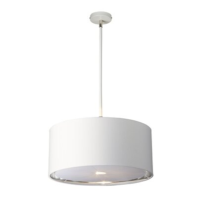 Isler 1-Light Drum Pendant Finish: White/Polished Nickel
