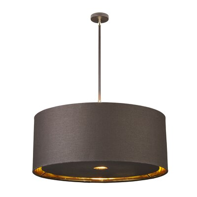 Isler 4-Light Drum Pendant Finish: Brown/Polished Brass