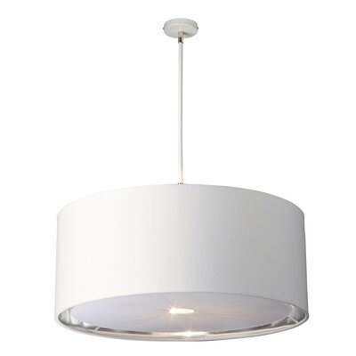 Isler 4-Light Drum Pendant Finish: White/Polished Nickel