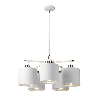 Isler 5-Light Drum Chandelier Finish: White/Polished Nickel